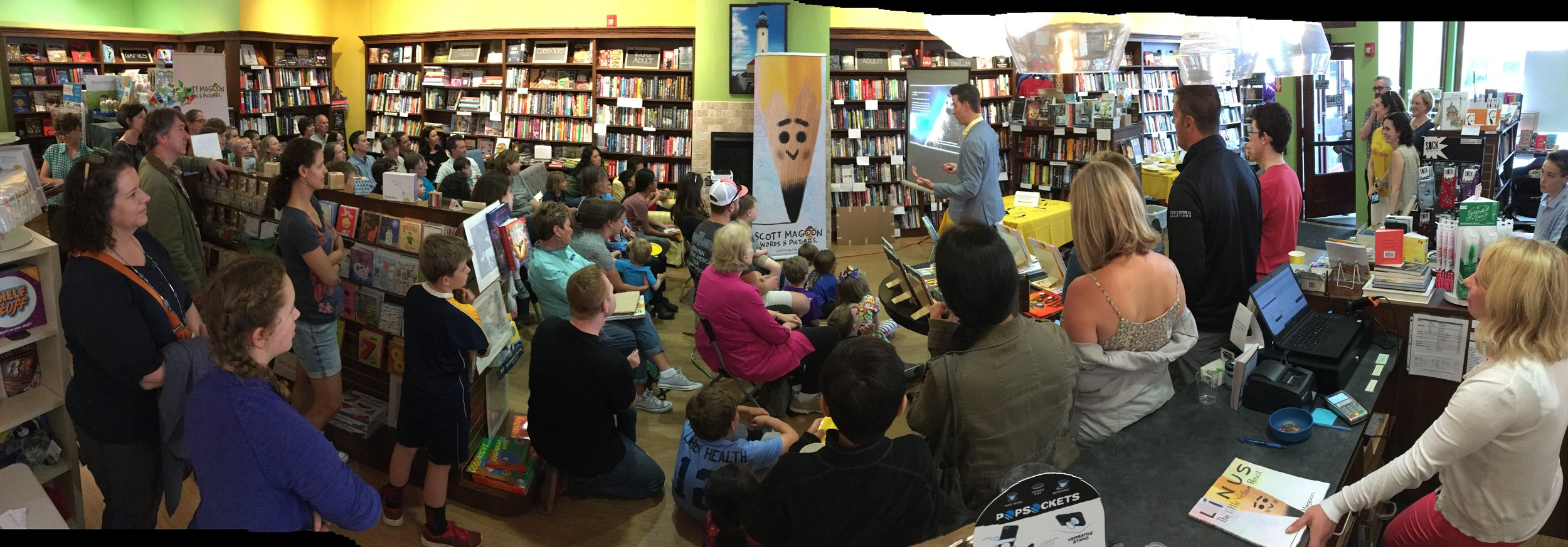 LINUS: launched! ✏️🎉We sent Linus off in style last night at my local indie  Whitelam Books  in an event for the books.📚 There were lots of doings: a free drawing to win signed art prints, bookmark/action figure freebies, refreshments including a Linus cake, (thanks to Christy ❤️) and a spirit of community, friendship and family. I spoke a bit about the making of the book and signed copies too. Store sold out! Thanks to everyone who came out to celebrate with us; I am grateful and will remember it fondly. This was a special night; attendees got copies before anyone else. Linus is available everywhere on Tuesday from Disney Hyperion Books. Miss this one? There are many more stops to come this summer on the Headliner Tour. More  here .