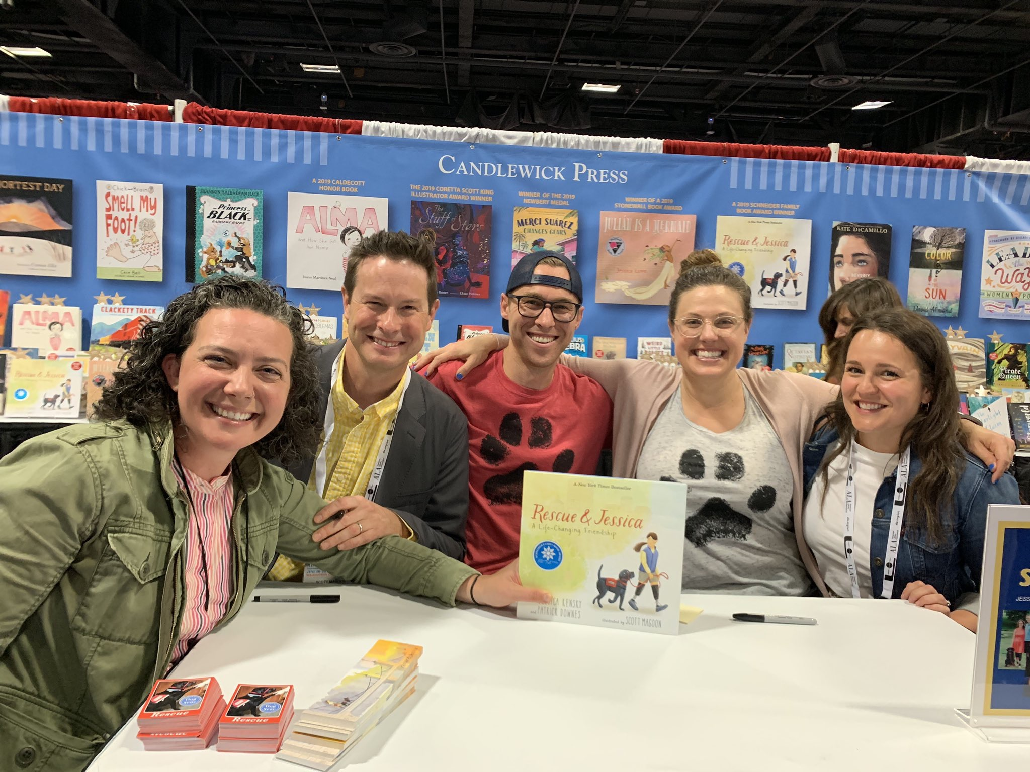 At ALA in Washington signing in the Candlewick Press booth with editor Katie Cunningham, Me, Patrick, Jessica and Patrick and Jessica's agent Clelia Gore!
