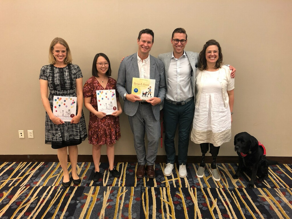 With other Scheider Award winners at ALA Washington from l-r: Jesse Oliveros, illustrator Dana Wulfekotte, me, Patrick, Jessica & Rescue!