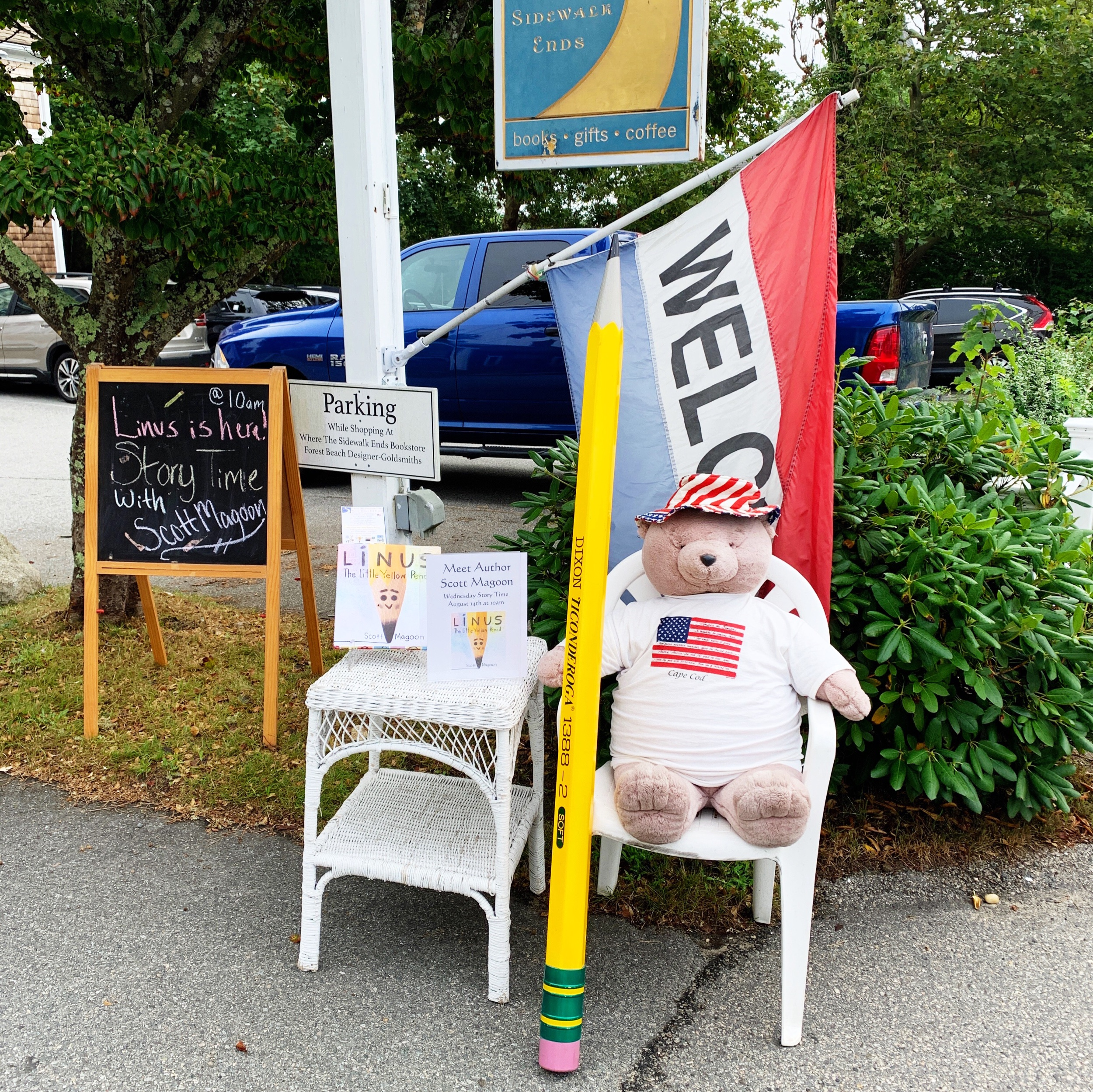This greeted passers by in front of Where the Sidewalk Ends in Chatham, MA during my visit there. Thanks Blue Bunny Bookstore for letting us use your giant Pencil!