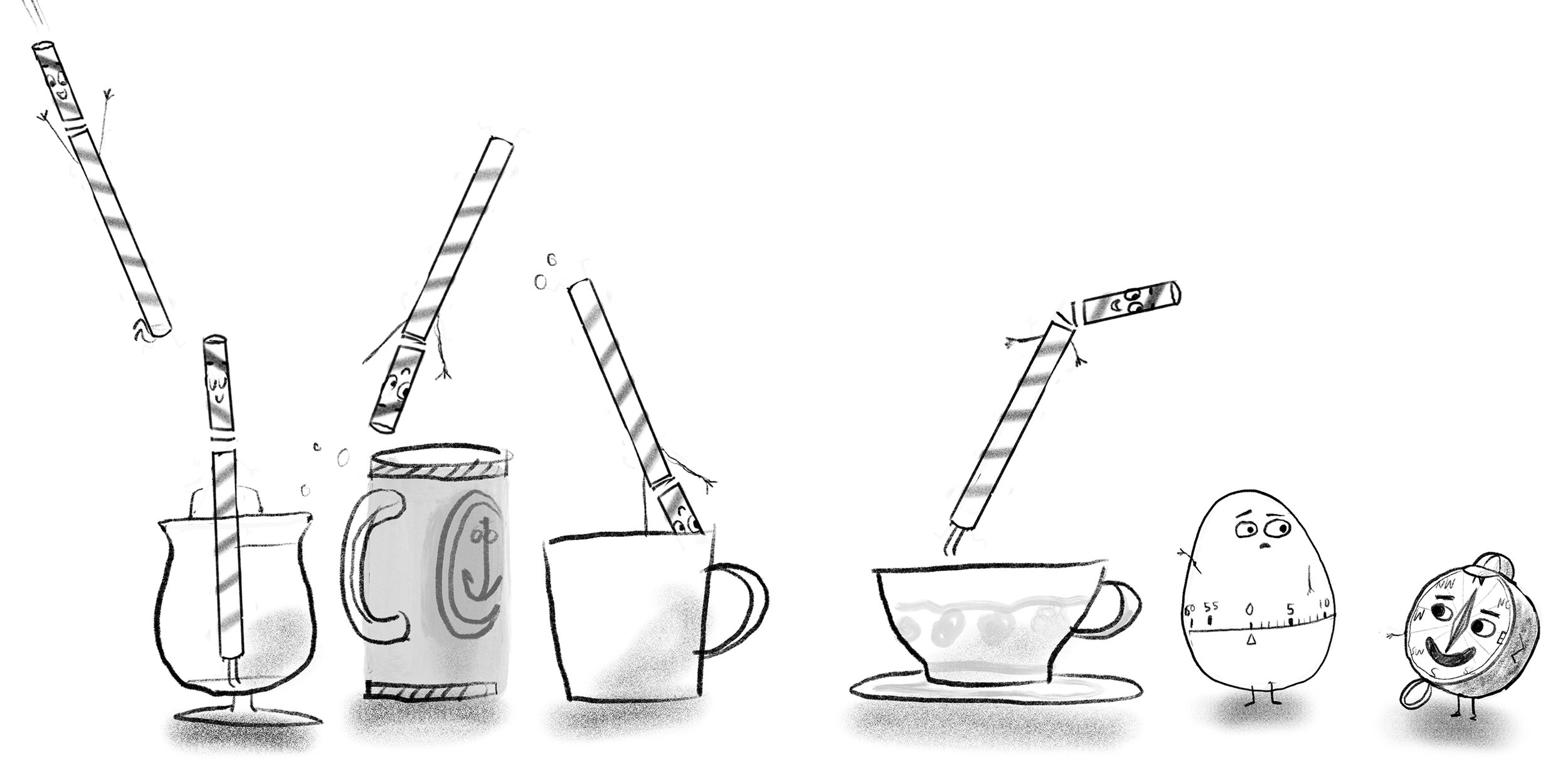 How do we make a book about a straw fun? Give him stuff to do and interesting things to do it in with other compelling characters. This sketch starts to work out different glass and cup styles. Notice that I've got a compass and a timer here. Its meant to show that Straw is trying to find his way over the course of time.