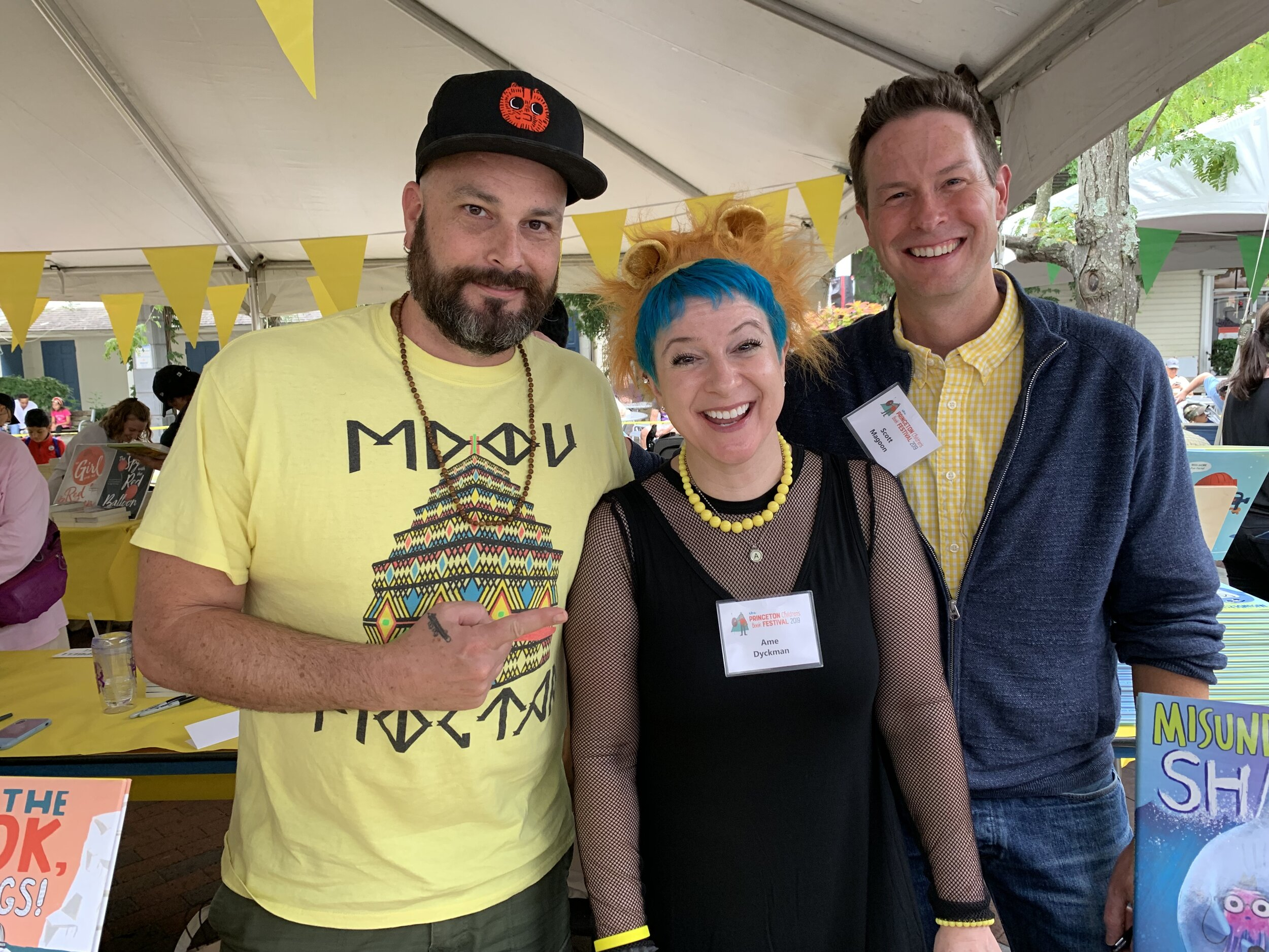 Zach O'Hora, Ame Dyckman & me at the end of the Princeton Children's Book Festival. Yes, we had a blast in our corner of the fest and no, we did not purposefully color coordinate! What a special way to end the LINUS Headliner Tour.