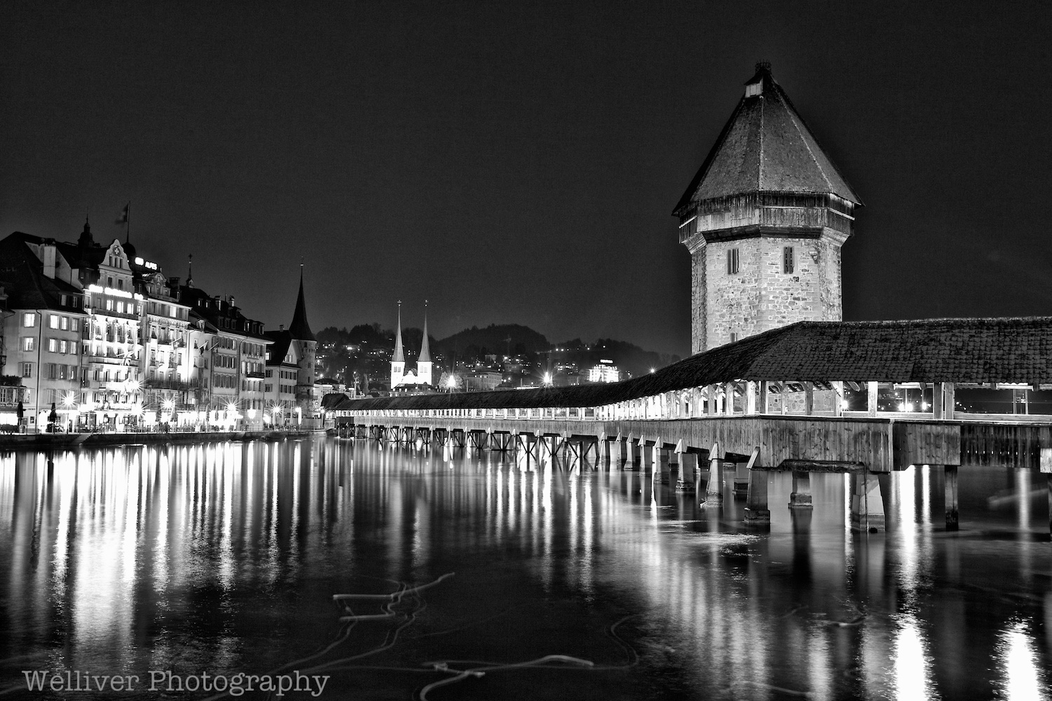 Switzerland:  Kapellbrücke Nacht   (Chapel Bridge Night) in Lucerne by Terry.