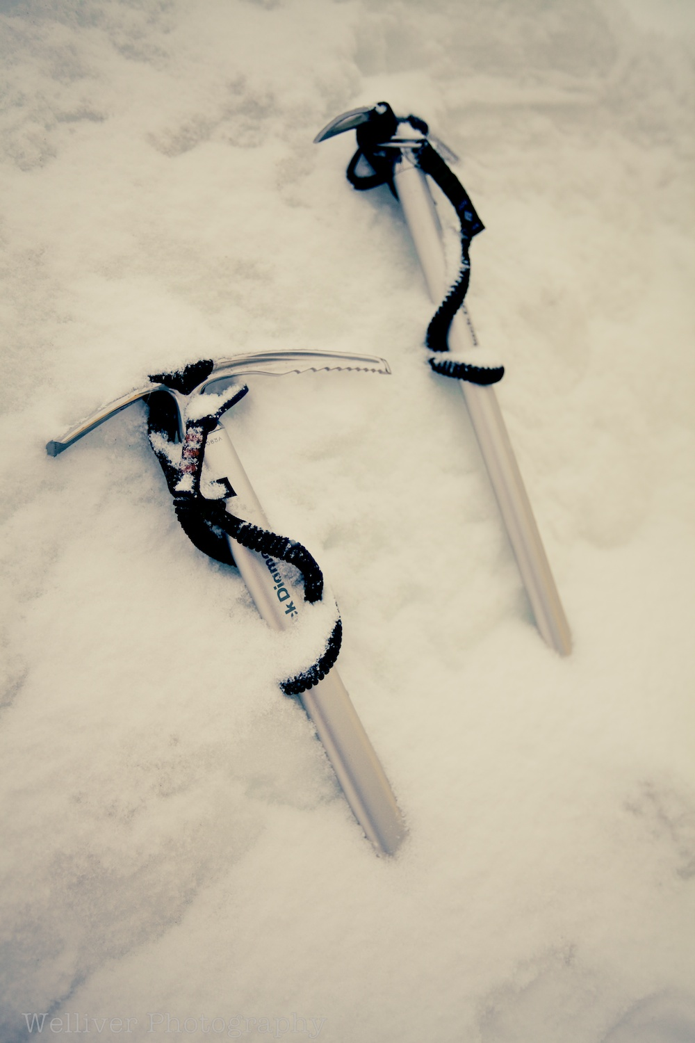 Ice axes are handy for sinking tent anchors in the snow.