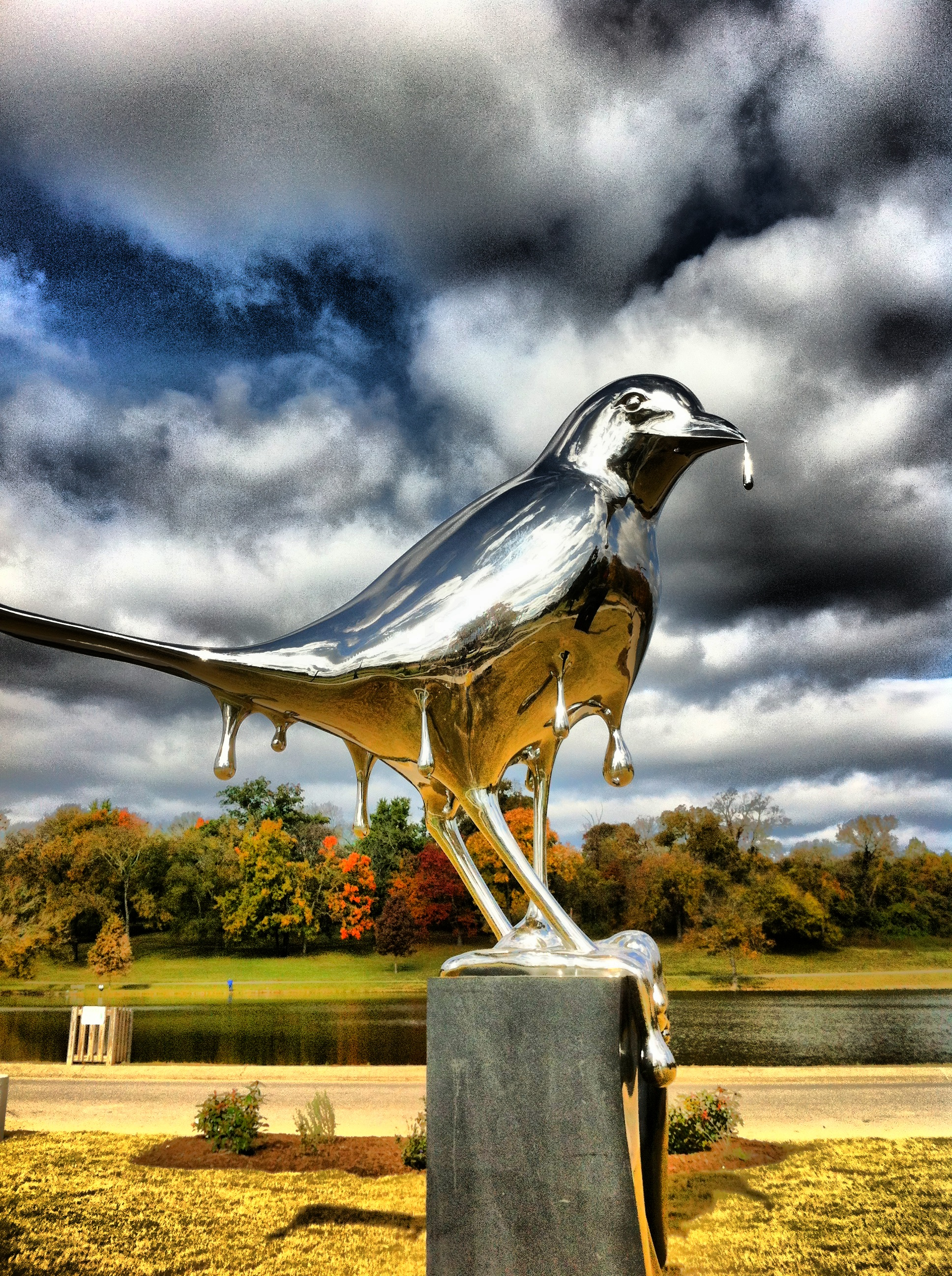 Lawrence Argent's Mockingbird at Shelby Park, Nashville, TN -   photo by Nancy VanReece