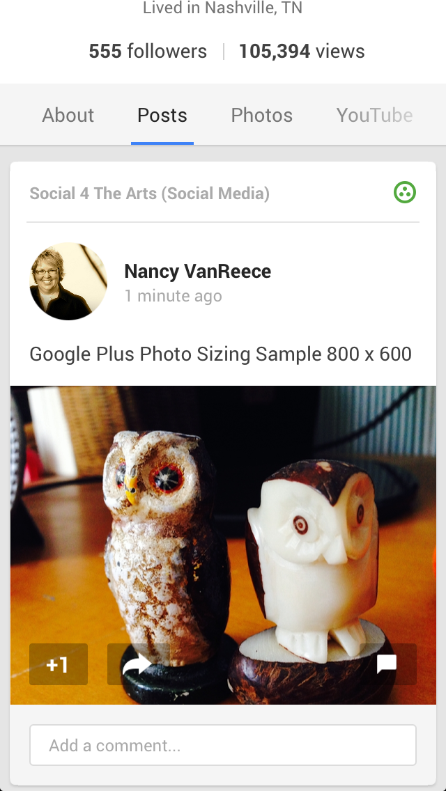 Google Plus Post on Mobile