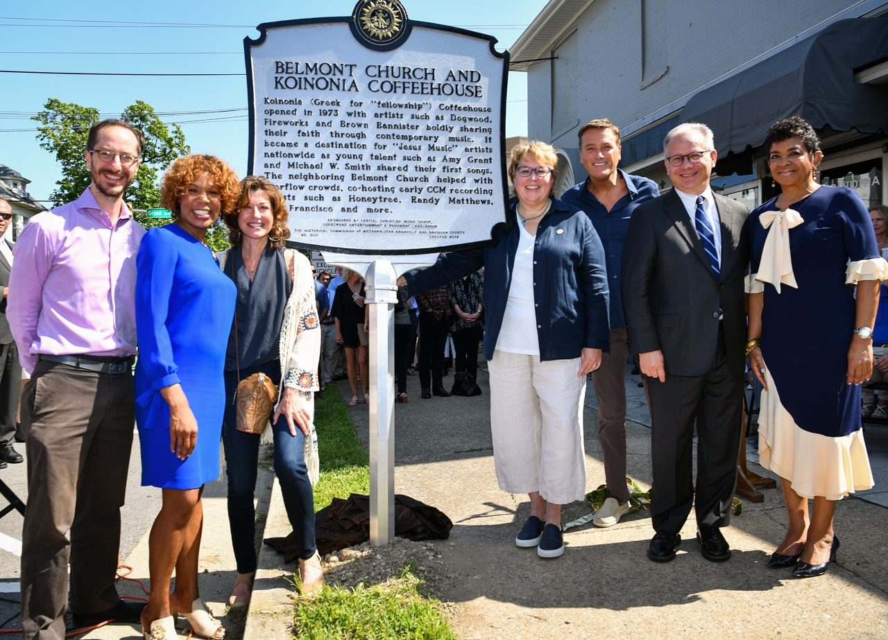 Pictured: Council Member Freddie O'Connell, Council Member Erica Gilmore, Amy Grant, Council Member Nancy VanReece, Michael W. Smith, Mayor David Briley, President/CEO Gospel Music Association, Jackie Pattilo