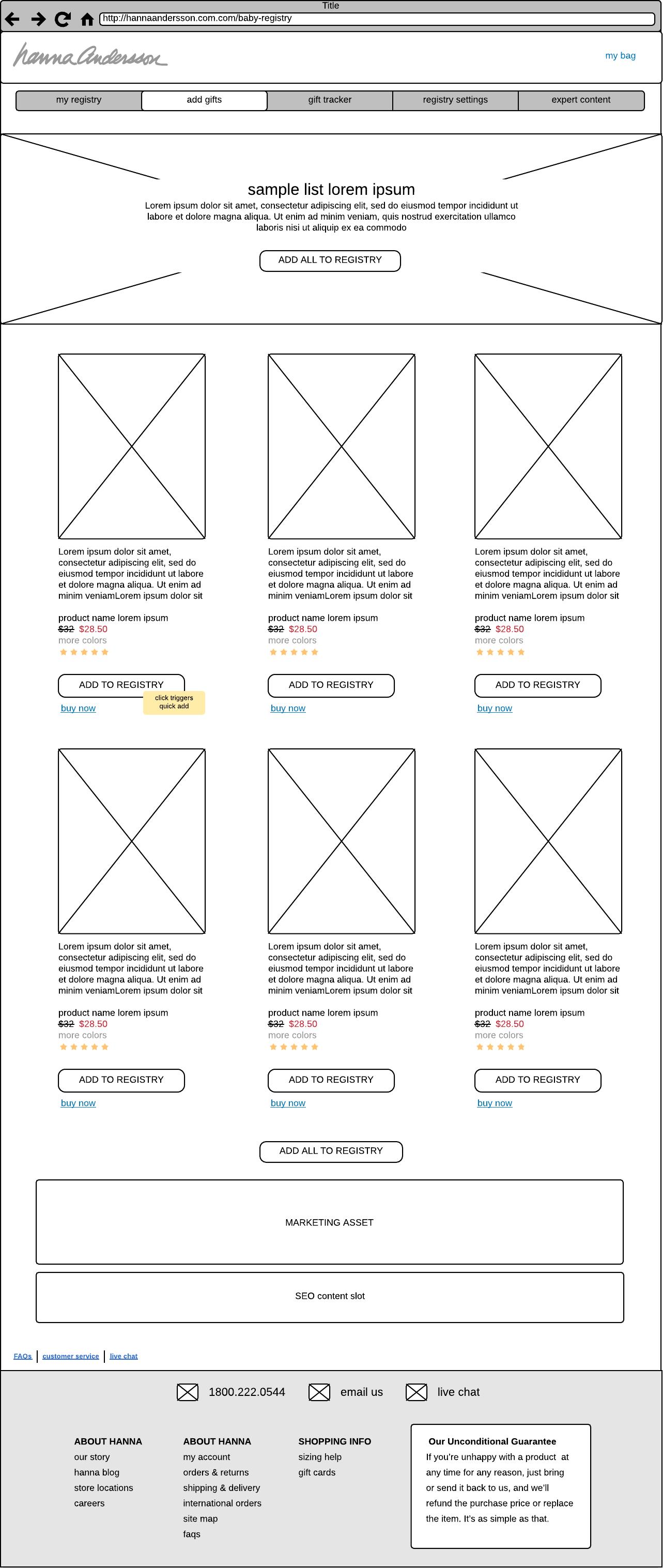 Sample Registry Page