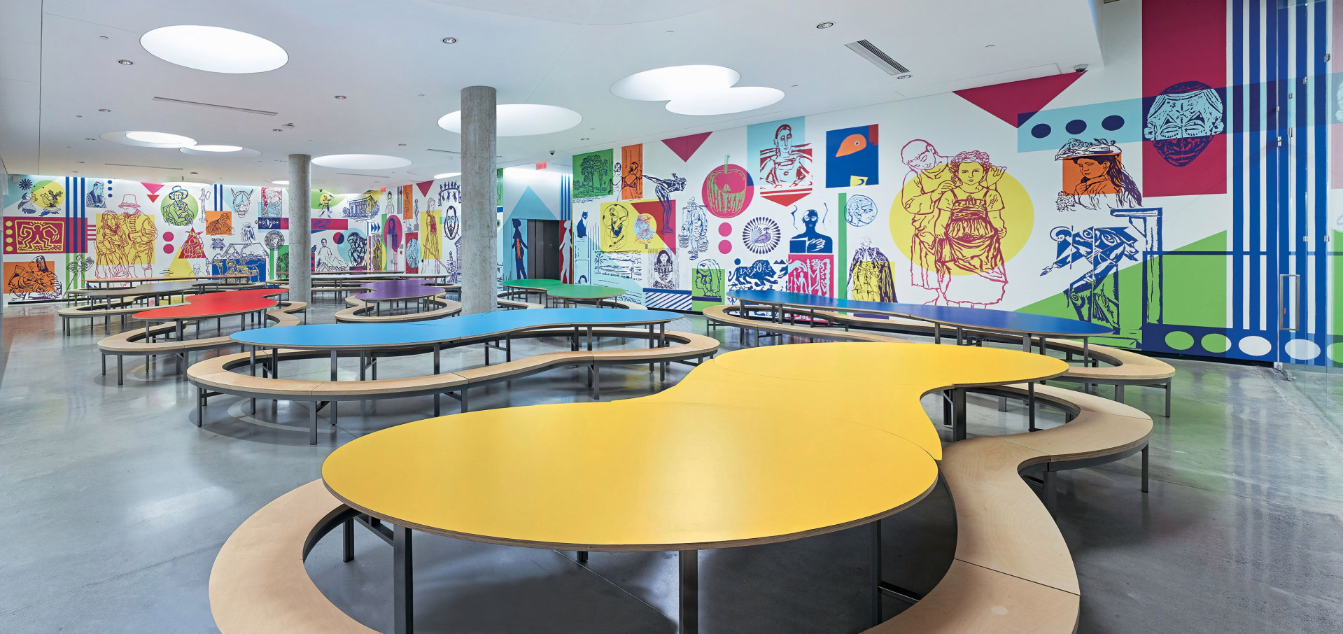 The Montreal Museum of Fine Arts: Rainbow Hall at the Michal and Renata Hornstein Pavilion for Peace, filled with murals by the art collective MU.Marc Cramer (Image via Fortune Magazine)