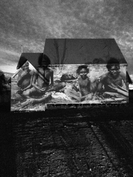 This image was taken in 1921 when missionaries first moved into the area. Photo is projected onto an old abandoned church in   ‪#‎  Meekatharra‬       ‪#‎  WesternAustralia‬       ‪#‎  reconciliation‬    Saddens my heart to see the devastation on the aboriginal people, still to this day, as I sit and talk to some true locals.