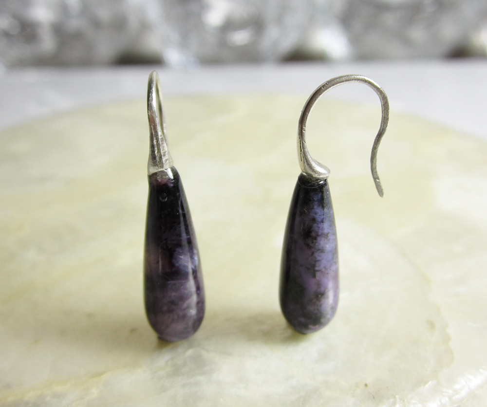 Sterling Silver and Charoite Earrings