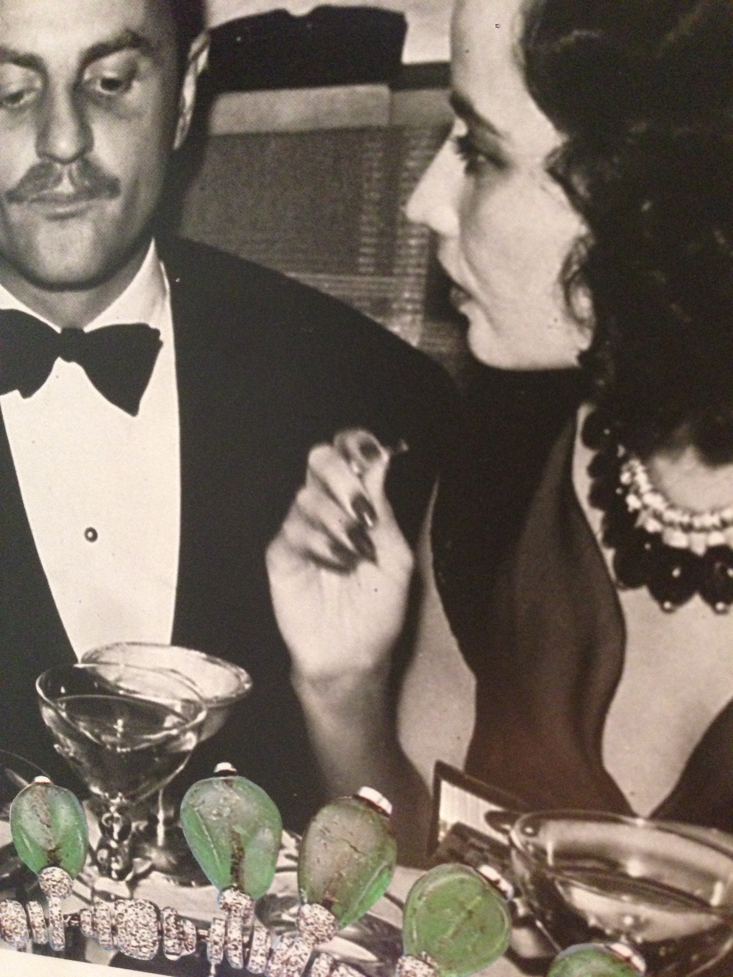 Merle Oberon wearing her Cartier necklace of diamonds and 29 pebble-sized Emeralds