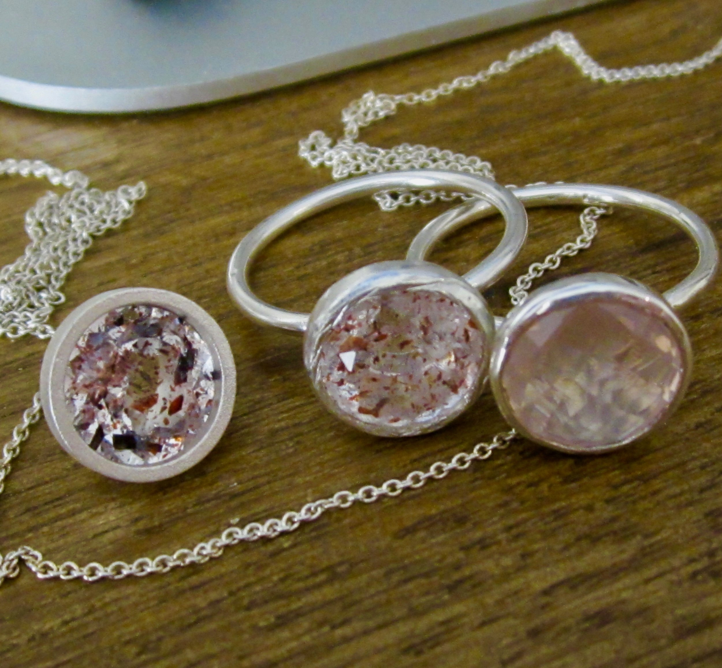 Genuine Strawberry Quartz and Rose Quartz of dazzling prettiness, set in silver. All Jewellery made me me.