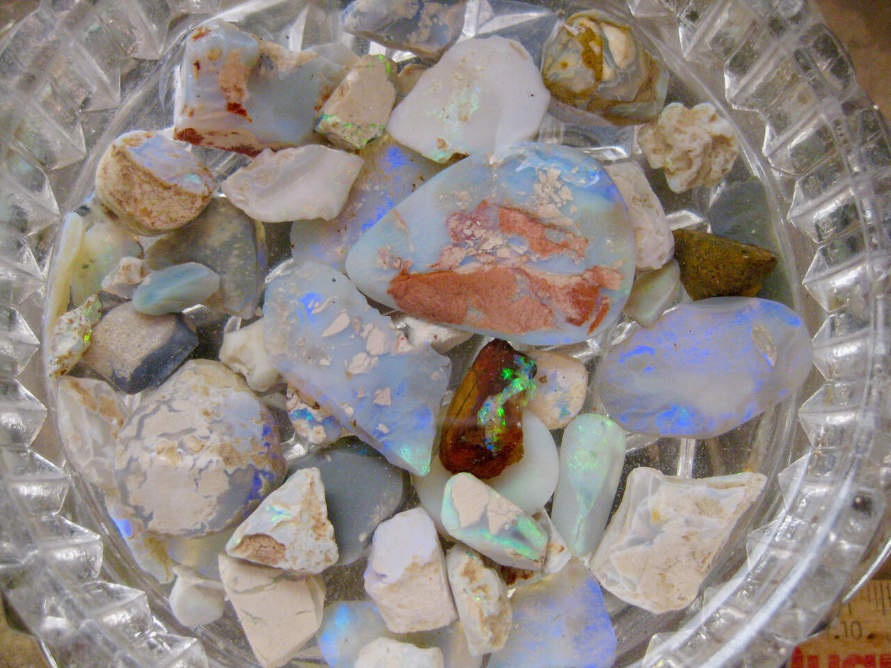 A small selection of opal rough that has been chosen for cutting and polishing.