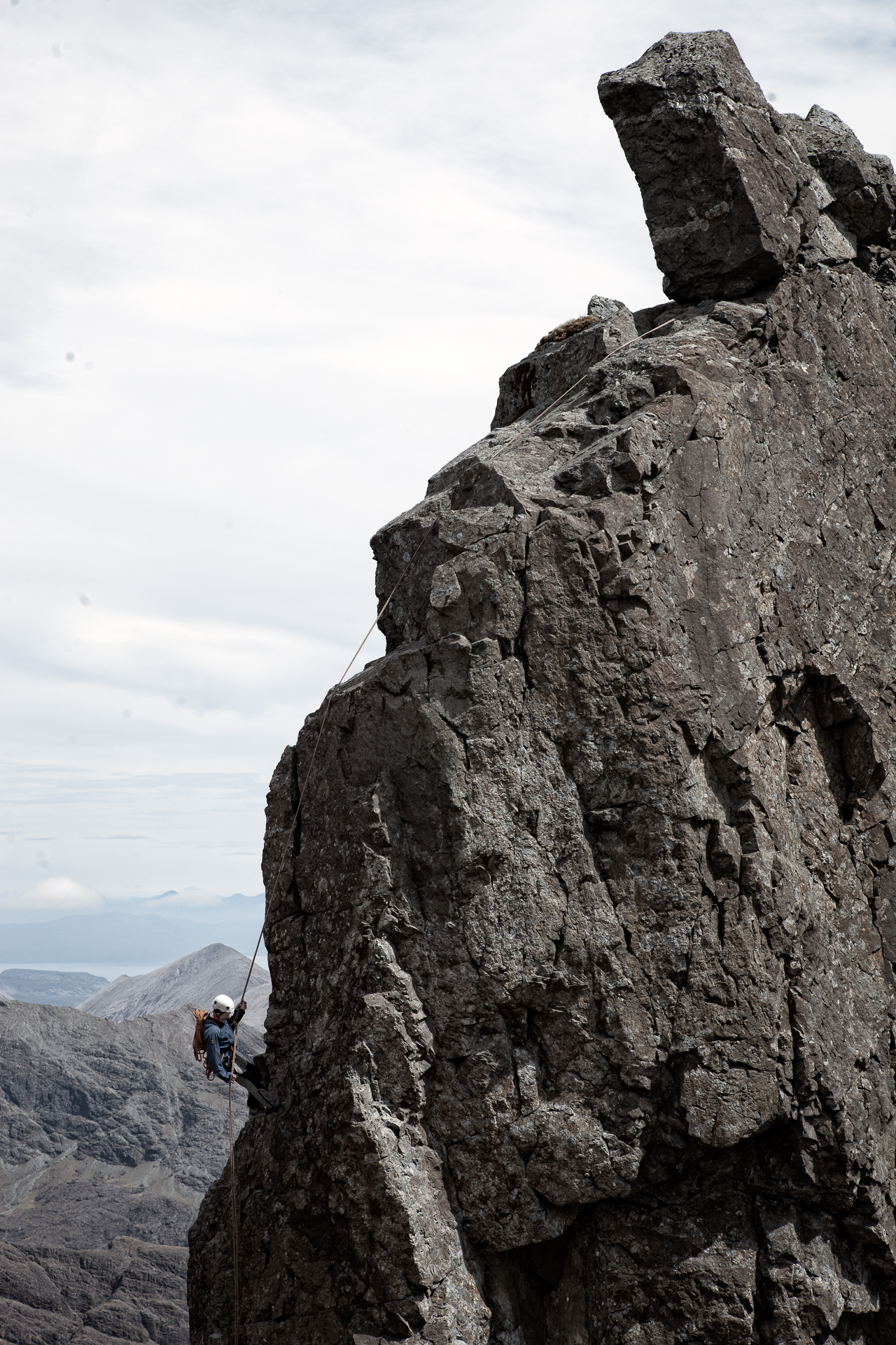 Abseiling from the In Pinn