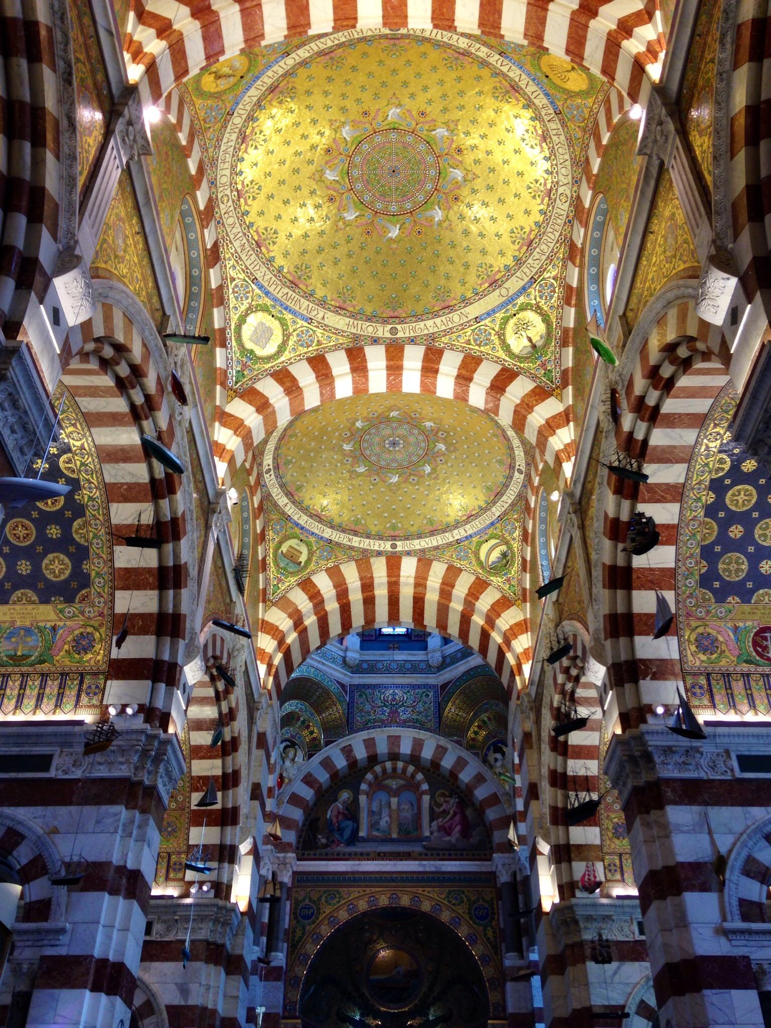 Summit Church vaulted ceiling. Marseille, France.