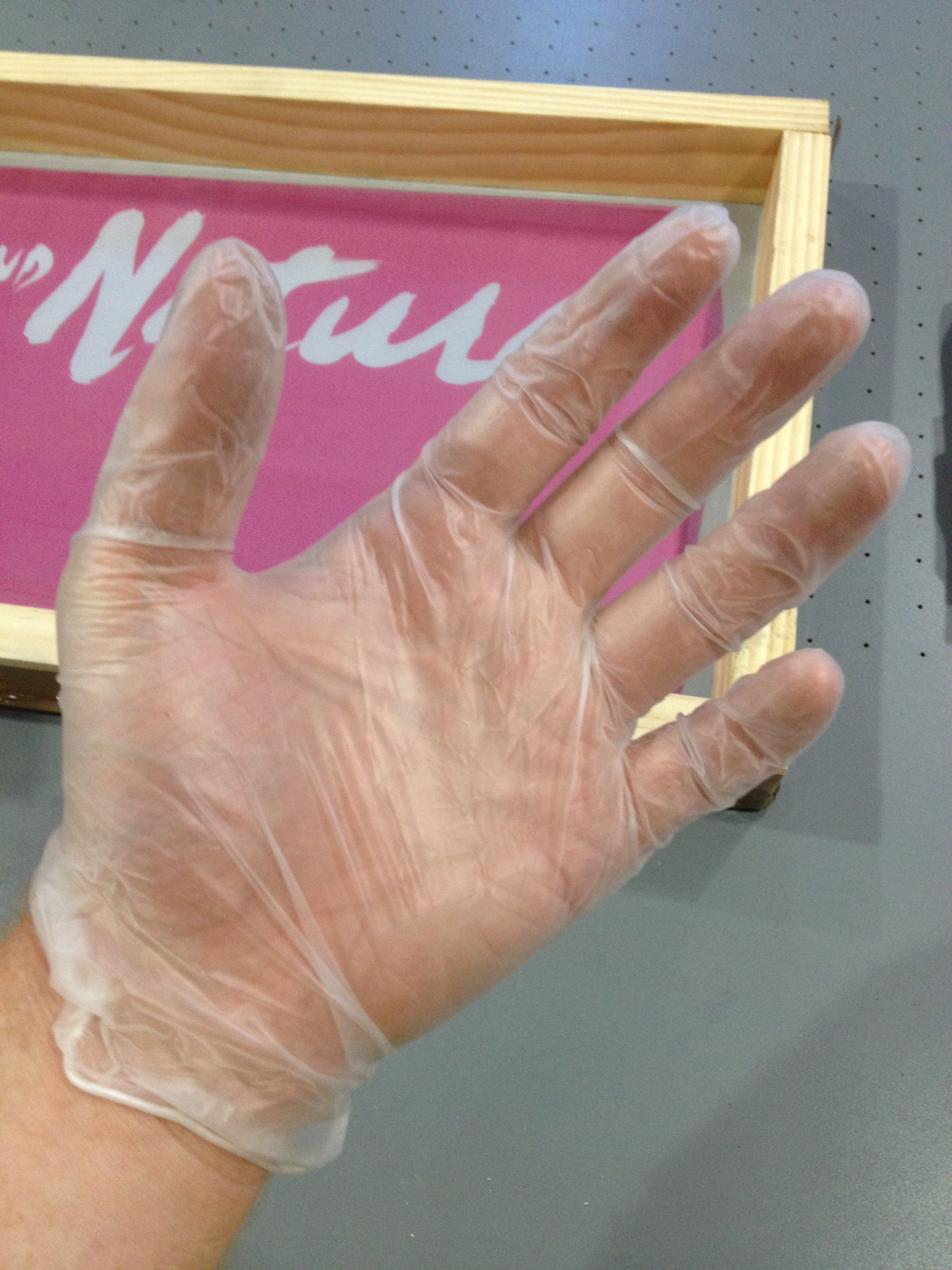 wear gloves! for this print we used Nazdar 59000 a solvent based ink permanent and weatherproof on chalkboard