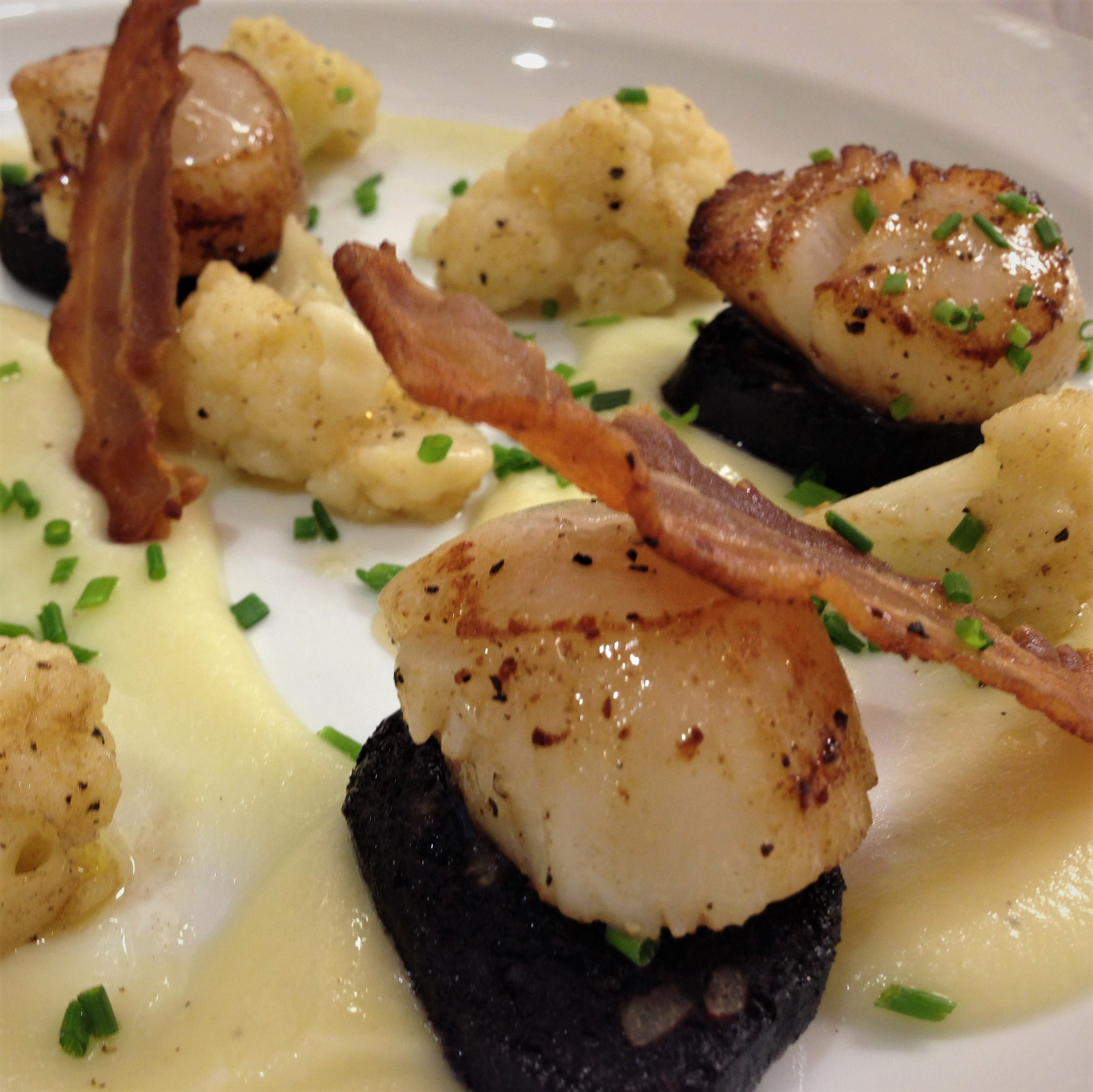 Lighthouse Scallops with Black Pudding