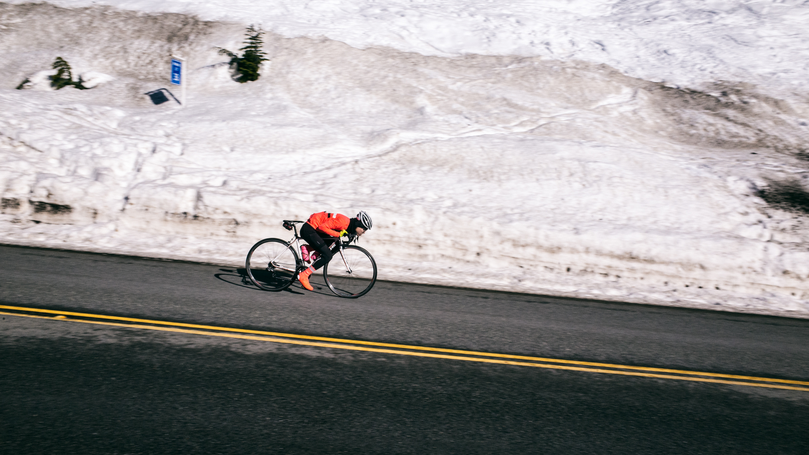 February 8. The snow did accumulate at the summit, but it was still completely rideable.