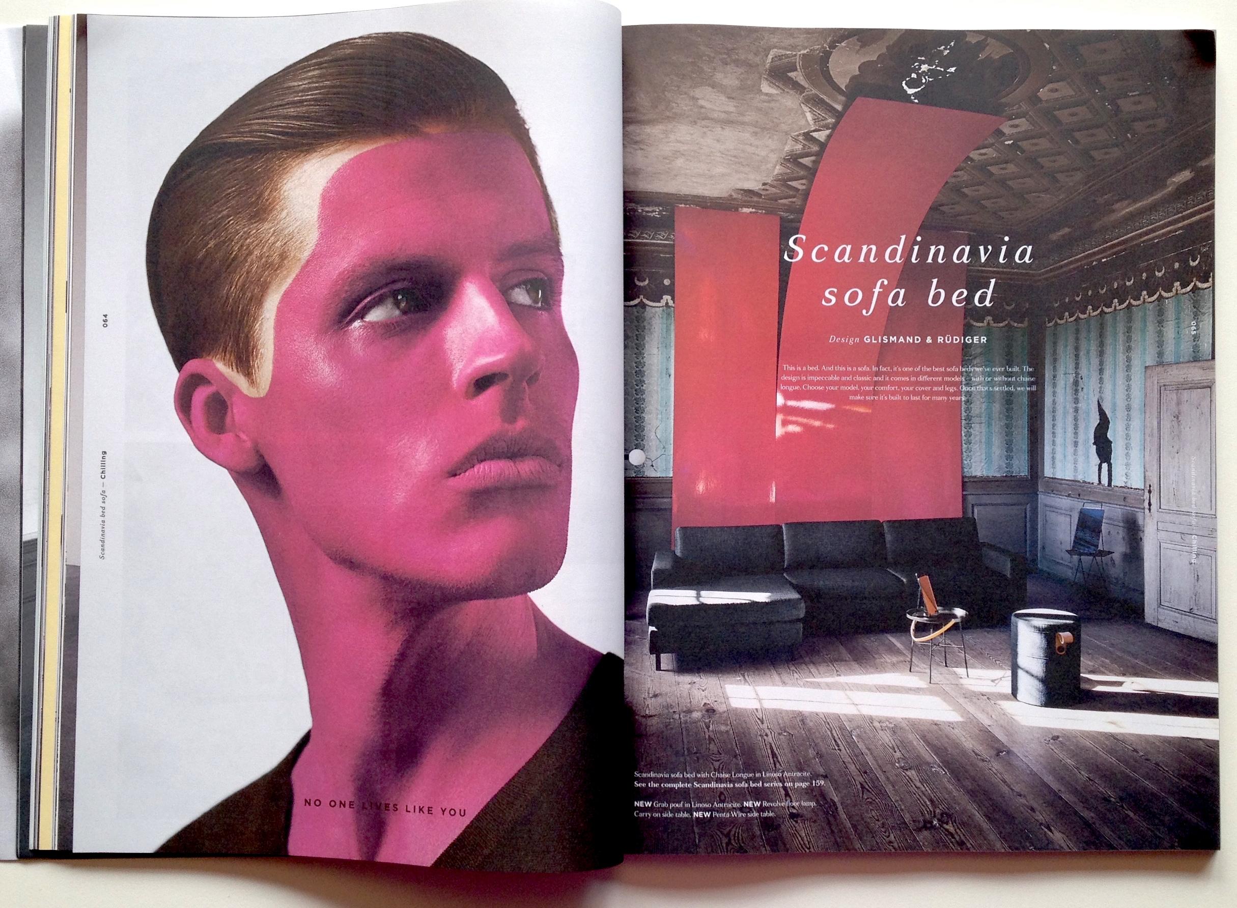 Man kan godt spørge sig selv om, hvad manden med den overdrevede rødmen - eller hudlidelse?-laver i et møbelkatalog (stakkels dreng). Men originaliteten og 'vi-gør-dét-ingen-andre-gør'-mentaliteten er jeg fan af.