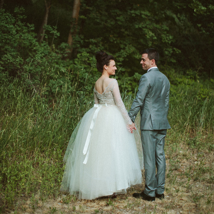 fancy beaded gown with full tulle skirt + simple satin sash + pearl studs