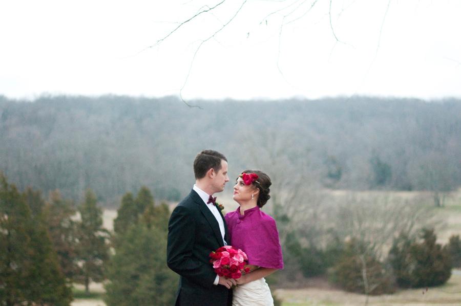 winter farm elopement