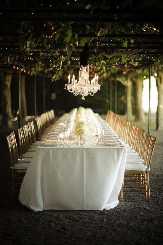 A crazy gorgeous space:  A grove of trees with chandeliers intermingled . Swoon.
