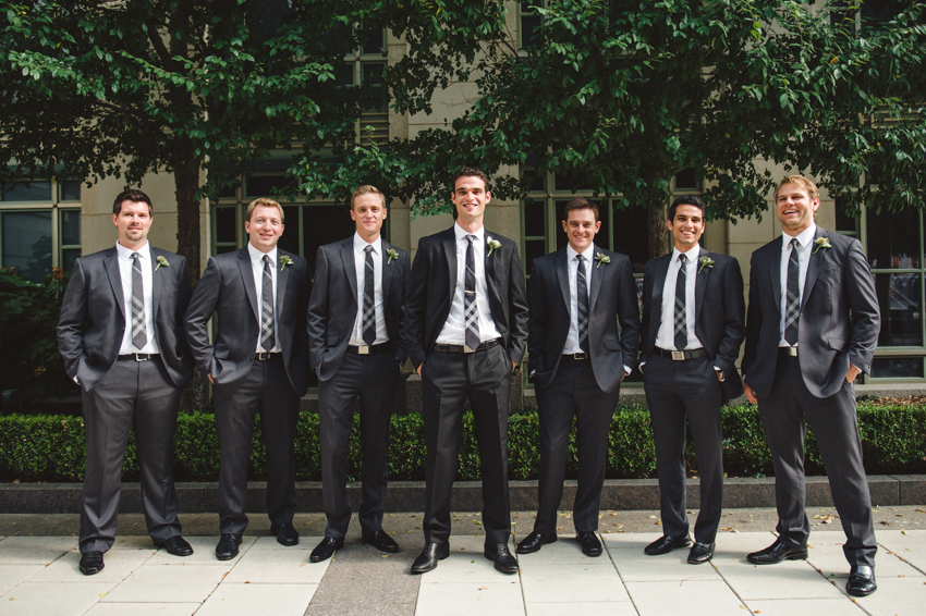 groomsmen in plaid ties