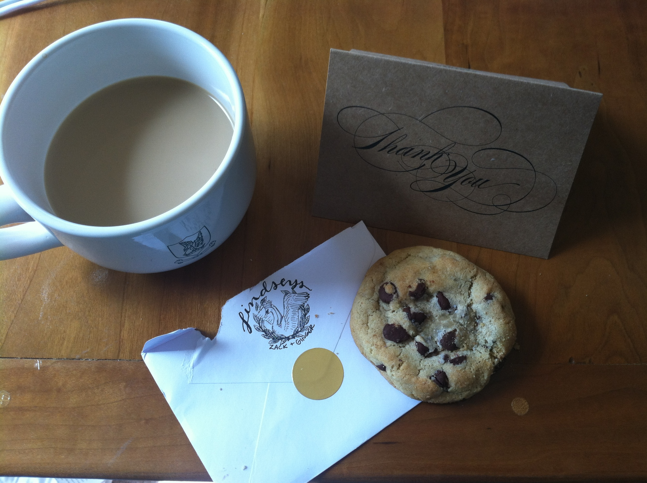 Got the sweetest thank-you note + homemade cookies from past October bride, Ginger!