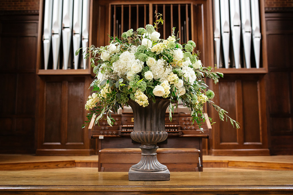 scarritt bennett white floral arrangement geny's