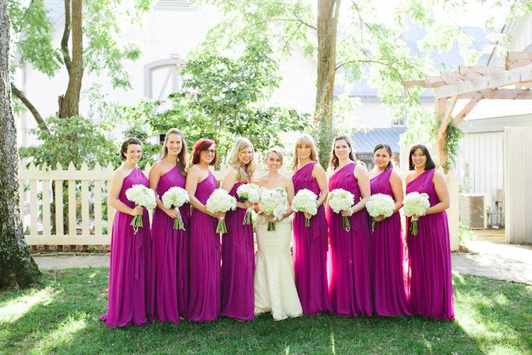 bride and fuchsia bridesmaids