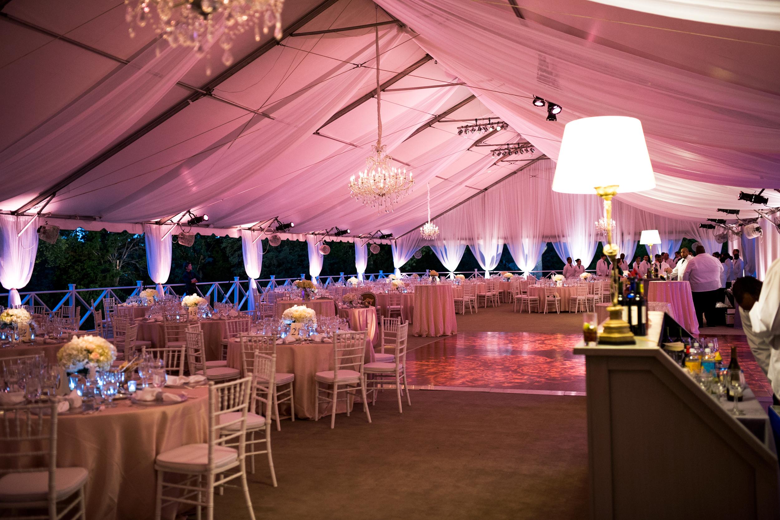 pink formal reception