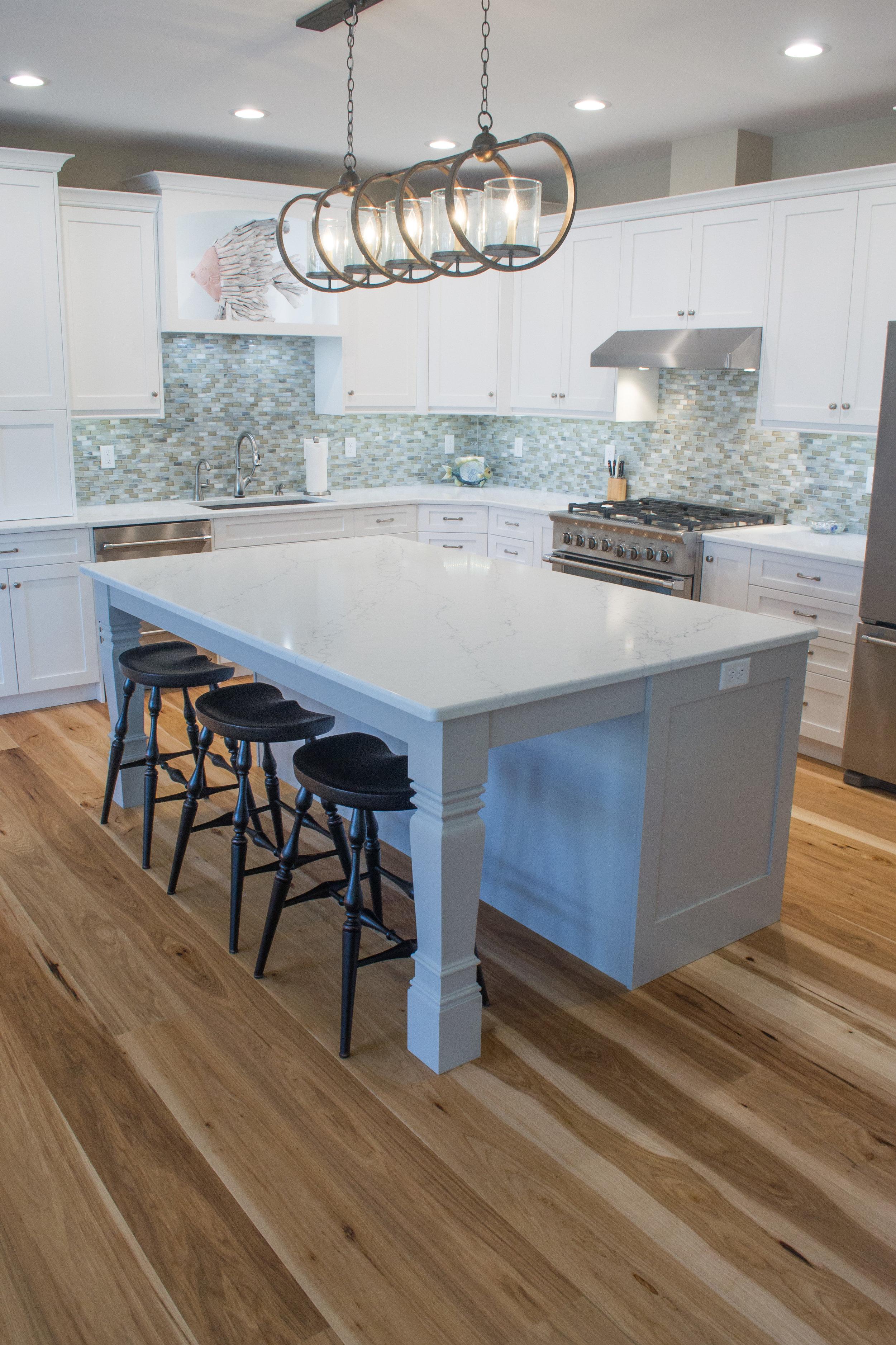 white painted kitchen Lewes, DE. Grey custom ornate island