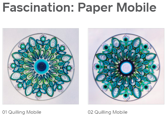 """ONLINE SHOP    - Handmade Paper Art Mobile (Quilling) - Each Paper Art is made of 3-5mm paper strips (Recollections Cardstock (65 lb/176g/m2) & White Glue - The diameter of my Paper Art Mobile is around 35.5cm or 14"""". - Pieces are glued into a metal ring for easy hanging. - UV-Resistant Gloss - Protected against harmful UV light rays - Non-yellowing permanent coating - Moisture-resistant"""