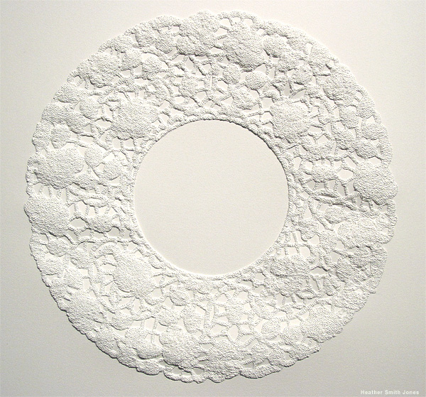 Formation four, growing circle, pinholes on paper, 8 in. x 8 in., 2006