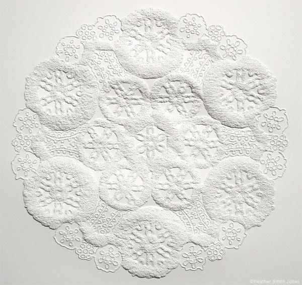 Formation five, wagonwheel , pinholes on paper, 8 in. x 8 in., 2006