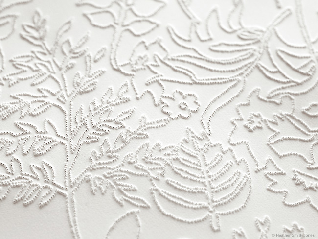 Leaf and its pattern , detail, pinholes on paper, 6 in. x 13 in., 2005