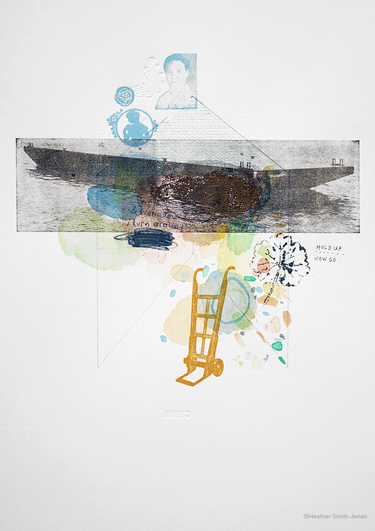 CARRY , graphite, watercolor, c. pencil, letterpress on paper, 12.5 in. x 18 in., 2009