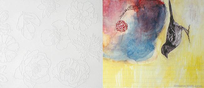 Ten flowers, ten rules, ten spaces , graphite, handmade watercolor, pinholes on paper, 9 in. x 18 in., 2004