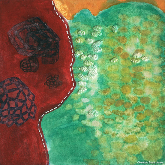 confronting , handmade watercolor and pinholes on paper, image size 4 in. x 4 in., framed size 14 in. x 14 in., 2004
