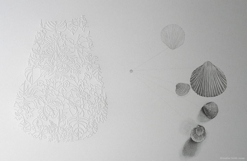 Fill me up: dress pocket with shells , pinholes and graphite on grey paper, 15 in. x 22 in., 2005