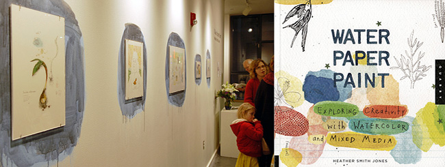 Installation view of  Water Paper Paint  exhibition at the Lawrence Arts Center and the book cover.