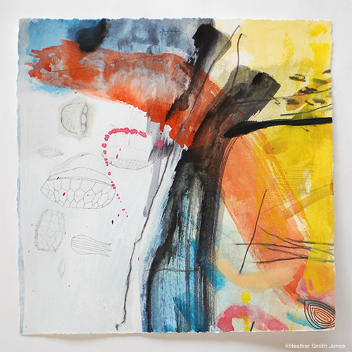 I wonder what it's all about , mixed media on paper, 8 1/2 in. x 8 3/4 in.