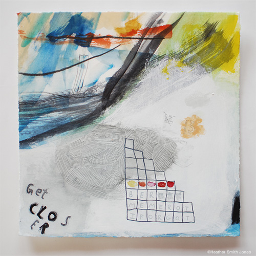 I forgot to remember , mixed media on paper, 8 1/2 in. x 8 3/4 in.