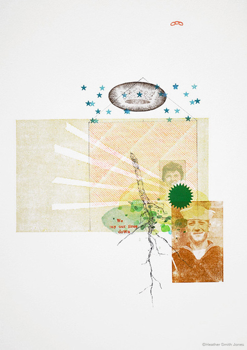 We lay our lives down ,  graphite, watercolor, c. pencil, letterpress on paper, 12.5 in. x 18 in., 2009