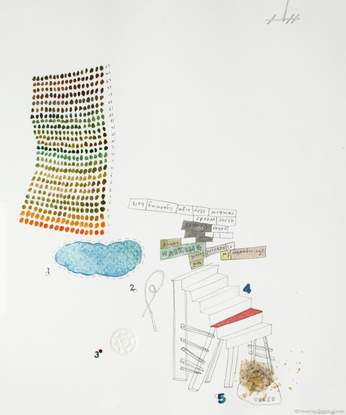 giving purpose to my meanderings , graphite, watercolor, acrylic, pinholes on paper, paper size 10 in. x 12 in., framed 17 in. x 19 in., 2007
