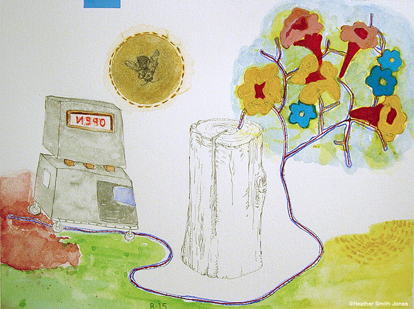 OPEN- Lifeblood , handmade watercolor, graphite, and acrylic on paper, 4.5 in. x 6 in., 2006