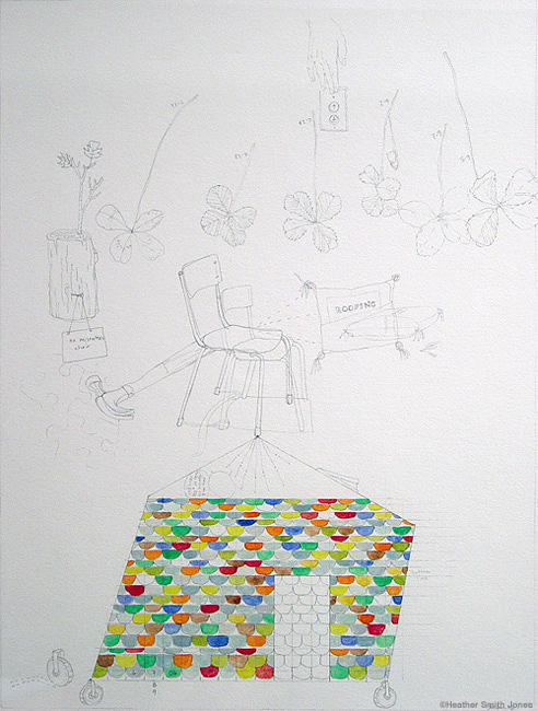 Found: six 4 leaf clovers and reason , graphite, handmade watercolor on paper, 9 in. x 12 in., 2006