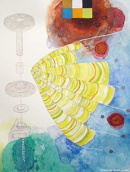 7.12 , graphite, handmade watercolor, acrylic, decals on paper, image size 6.75 in. x 9 in., 2006