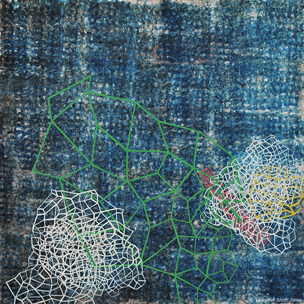 Construction on blue , handmade watercolor on paper, framed 18 in. x 18 in., 2004